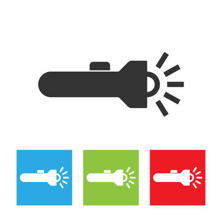 Flashlight icon, vector flat illustration of flashlight. Flashlight logo isolated on white background.