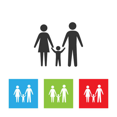 Family icon. Simple logo of family door on white background. Flat vector illustration.