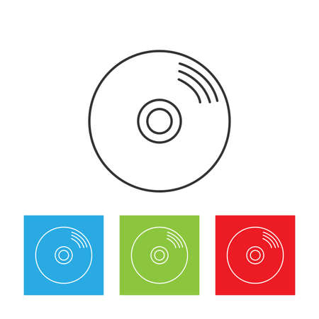 Disk icon. Simple logo of CD or DVD disc isolated on white background. Flat vector illustration.