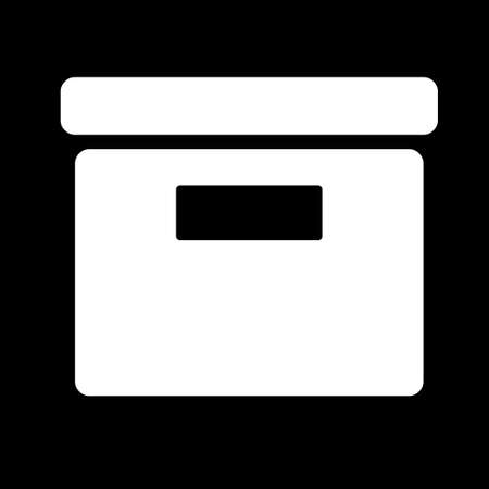 Box icon. Simple logo of box isolated on black background. Flat vector illustration.