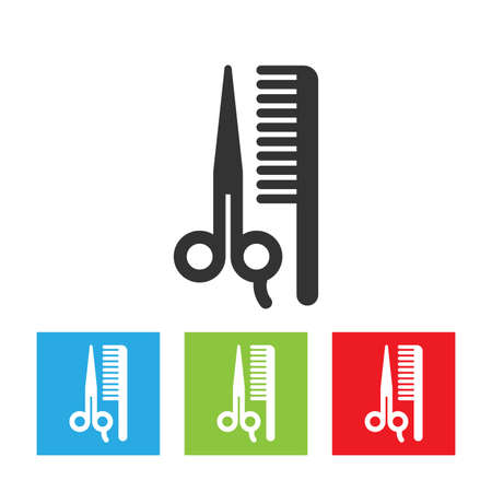 Scissors and comp icons. Shapes of scissors and comb isolated on white background. Flat vector illustration. Ilustração