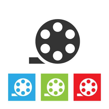Film bobbin icon. Simple logo of retro style bobbin isolated on white background. Flat vector illustration.