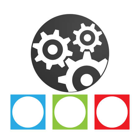 Gear icon in a circle. Simple flat logo of gears on white background. Abstract vector illustration