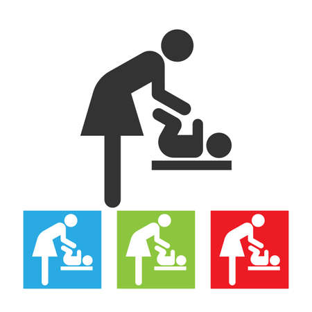 Symbol for woman and baby, toilet room for mothers with kids. Mother and child icon. Flat vector illustration.