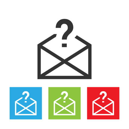 Envelope icon with question symbol. Unknown mail logo. Flat vector illustration.