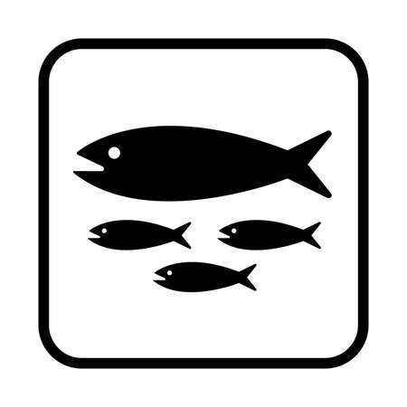 School of fish icon. Flat vector illustration isolated on white background. 向量圖像