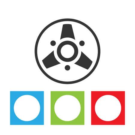 Music bobbin icon. Simple logo of retro style bobbin isolated on white background. Flat vector illustration. 일러스트