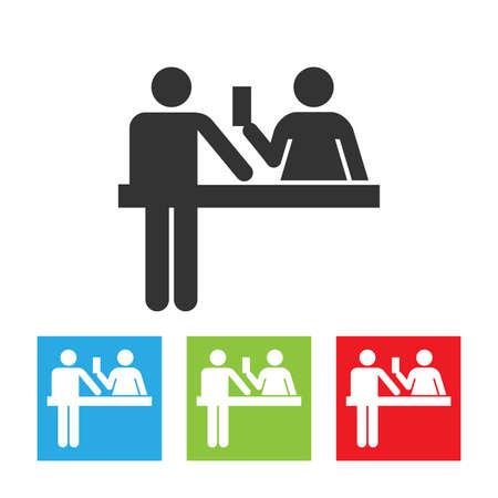 Icono de oficial personalizado. Logotipo del oficial de inmigración. Policía, barrera, señal de control de pasaportes. La ilustración de vector de prohibición, frontera, aduanas e inmigración.
