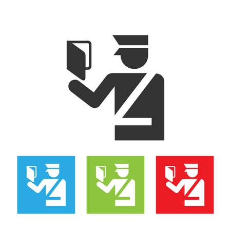 Icono de oficial de aduanas. Oficial de inmigración con pasaporte. Señal de control de pasaportes. Ilustración vectorial plana