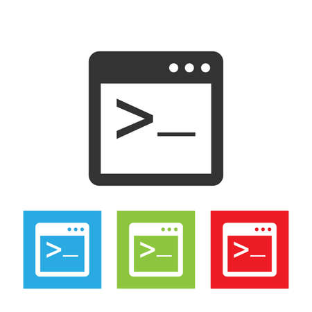 Coding cterminalicon. Simple logo of coding console terminal on white background. Flat vector illustration.