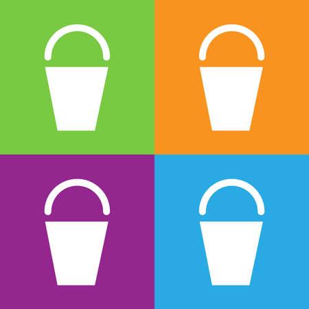 Bucket icon. Simple logo of bucket isolated on white background. Flat vector illustration.