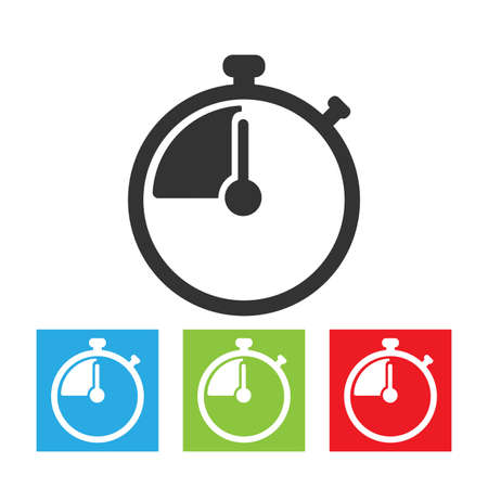 Stopwatch icon. Simple logo of stopwatch on white background. Flat vector illustration.
