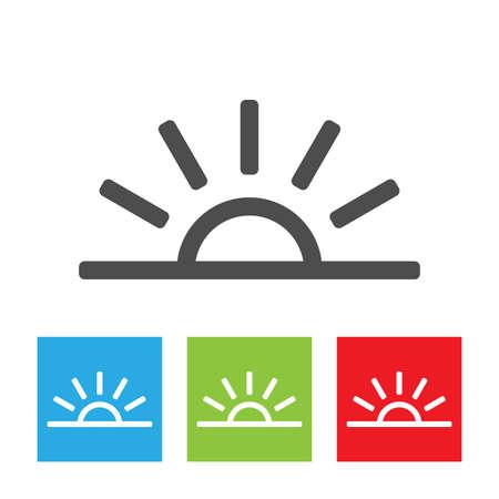 Sun icon. Simple half sun abstract logo on white background. Flat vector illustration.
