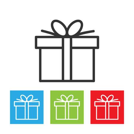 Gift icon. Gift box logo isolated on white background. Flat vector illustration.