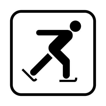 Skating icon. Flat vector illustration isolated on white background.