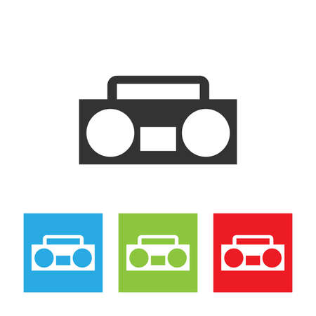 Tape recorder icon. Tape recorder logo isolated on white background. Flat vector illustration.