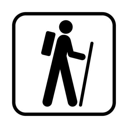 Wandern-Symbol. Flache Vektorillustration lokalisiert auf weißem Hintergrund.