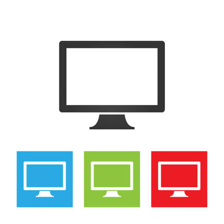Monitor icon. Simple logo of monitor on white background. Flat vector illustration.