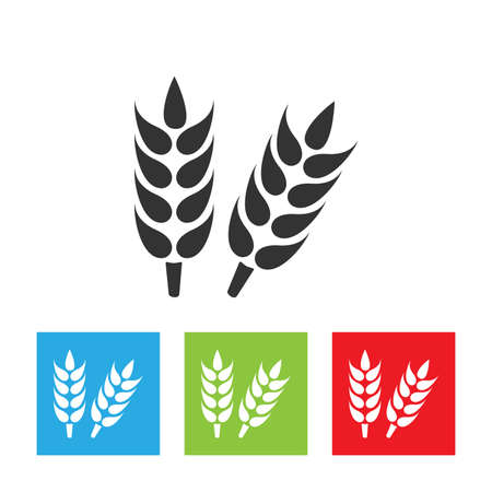 Ears of wheat. Growing ears icon. Simple logo of wheat ears on white background. Flat vector illustration.
