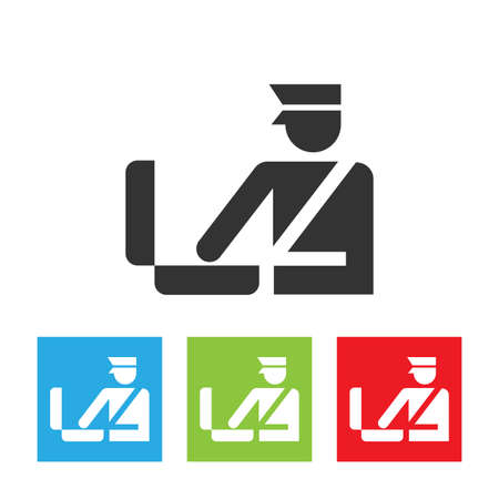 Custom officer icon. Immigration officer logo. Baggage checking. The ban, border, customs and immigration. Flat vector illustration. Foto de archivo - 110559469