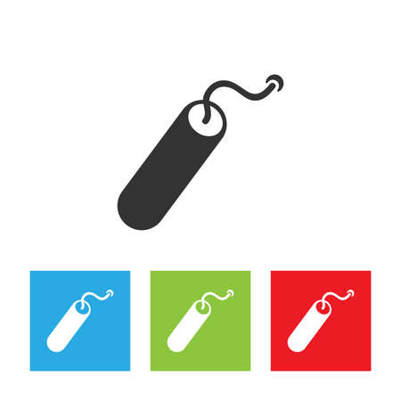 TNT dynamite bomb icon. Simple logo of dynamite isolated on white background. Flat vector illustration.