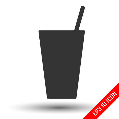 Beverage icon. Glass of coke vector. Flat icon of coke glass. Çizim
