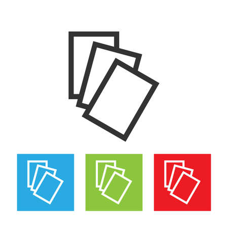 Files icon. Three files simple logo isolated on a white background. Flat vector illustration.