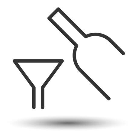 Wine icon. Wine and glass flat icon. Wine with glass picture. Vector illustration.