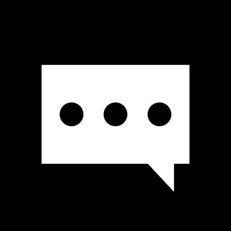 Message icon. Pictograph of message or chat. Simple logo of message on black background. Flat illustration.