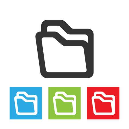 Folder icon. Simple logo of folder isolated on white background. Flat vector illustration. 向量圖像