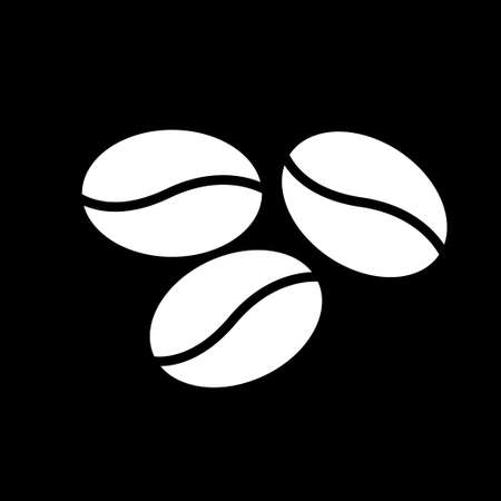 Coffee beans icon. Simple logo of coffee beans on black background. Flat illustration.