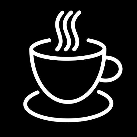 Coffee cup icon. Mug of coffee logo isolated on black background. Flat vector illustration.