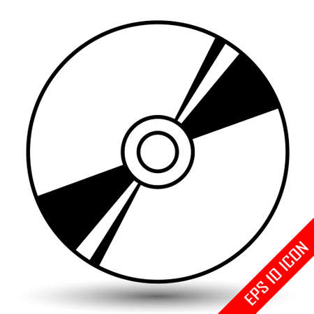 Disk icon. Disk with patch of reflected light picture. Disk flat vector. CD. DVD. Laser disc icon. Vector illustration.