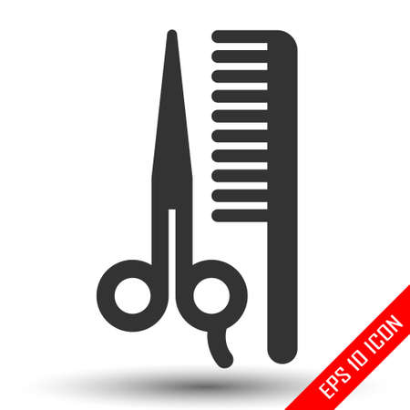 Scissors and comp icons. Barbershop Icon. Barbershop Icon Flat. Shapes of scissors and comb isolated on white background. Vector illustration.