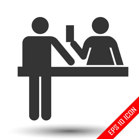 Custom officer icon. Immigration officer logo. Policeman, barrier, passport control sign. The ban, border, customs and immigration Foto de archivo - 110527378