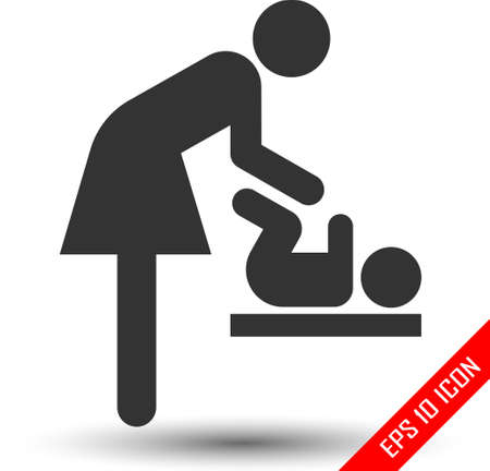 Symbol for woman and baby, toilet room for mothers with kids. Mother and child icon. Stock Vector - 110535962