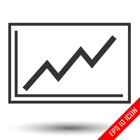 Graph Icon. Groving line on graph. Increasing of volume logo isolated on white background.