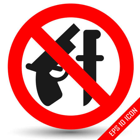 Weapon prohibited icon. Forbidding Vector Signs No weapons with gun and knife Illustration