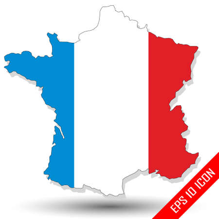 Map of France painted in national colors