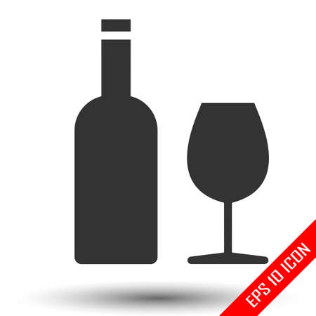 Wine icon. Wine and glass flat icons isolated on white background. Vector illustration. Illustration