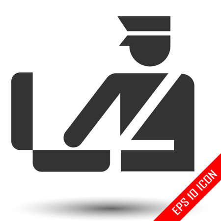 Custom officer icon. Immigration officer logo. Baggage checking. The ban, border, customs and immigration