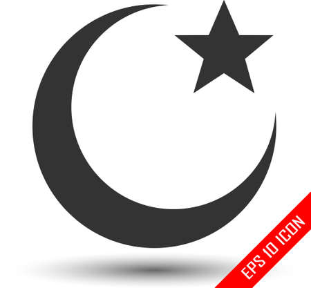 Islam symbol. Moon and star icon isolated on white background. Vector illustration Ilustração