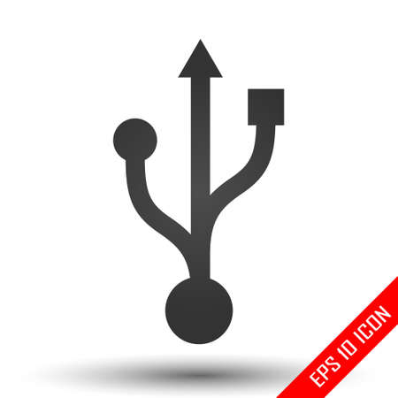 Usb icon. USB sign. Simple flat logo of usb sign terminal on white background. Vector illustration.