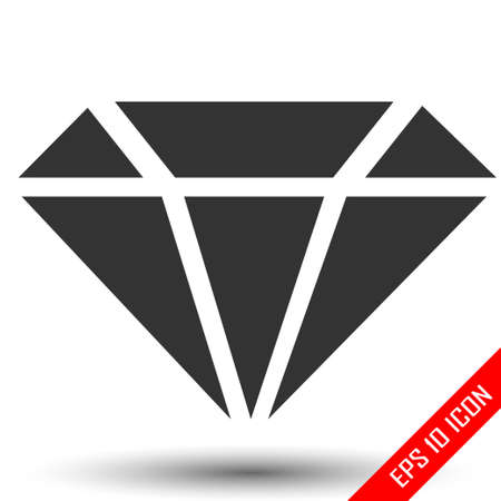 Diamond icon. Simple flat logo of diamond on white background. Vector illustration. Иллюстрация