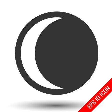 Moon eclipse icon. Simple flat logo of moon eclipse on white background. Vector illustration.