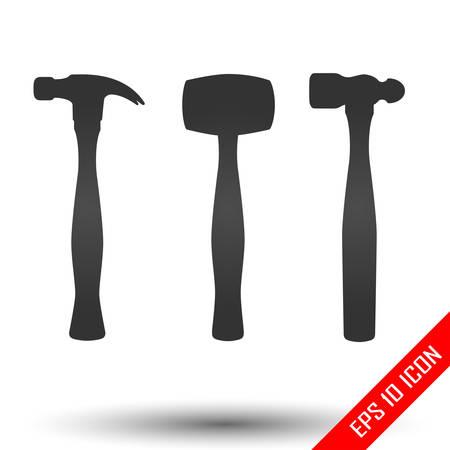 Hammer icons set. Simple flat logo of hammer on white background. Vector illustration.