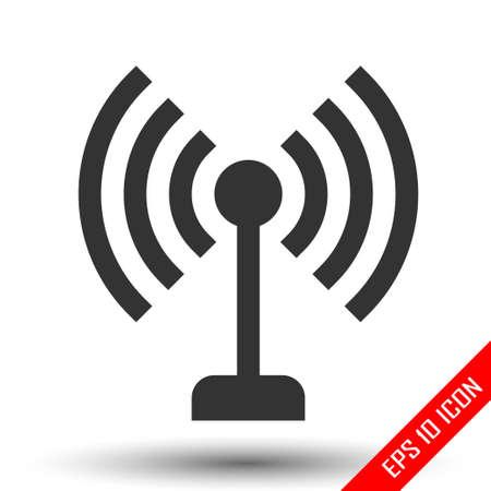 Antenna icon. Simple flat logo of antenna isolated on white background. Vector illustration.