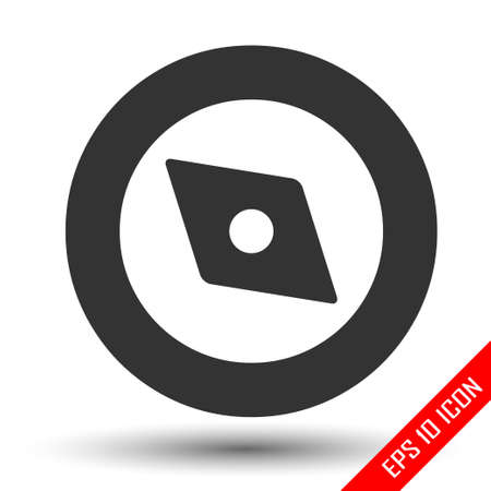 Compass icon. Simple flat logo of compass isolated on white background. Vector illustration. Logo