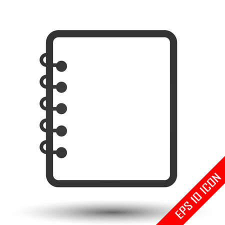Notebook icon. Notebook sign. Simple flat logo of notebook on white background. Vector illustration.