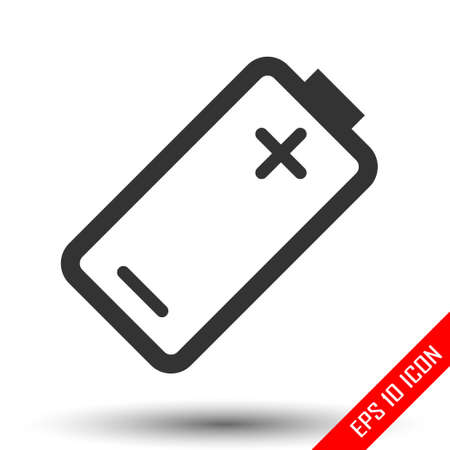 Battery icon. Simple flat logo of battery on white background. Vector illustration.